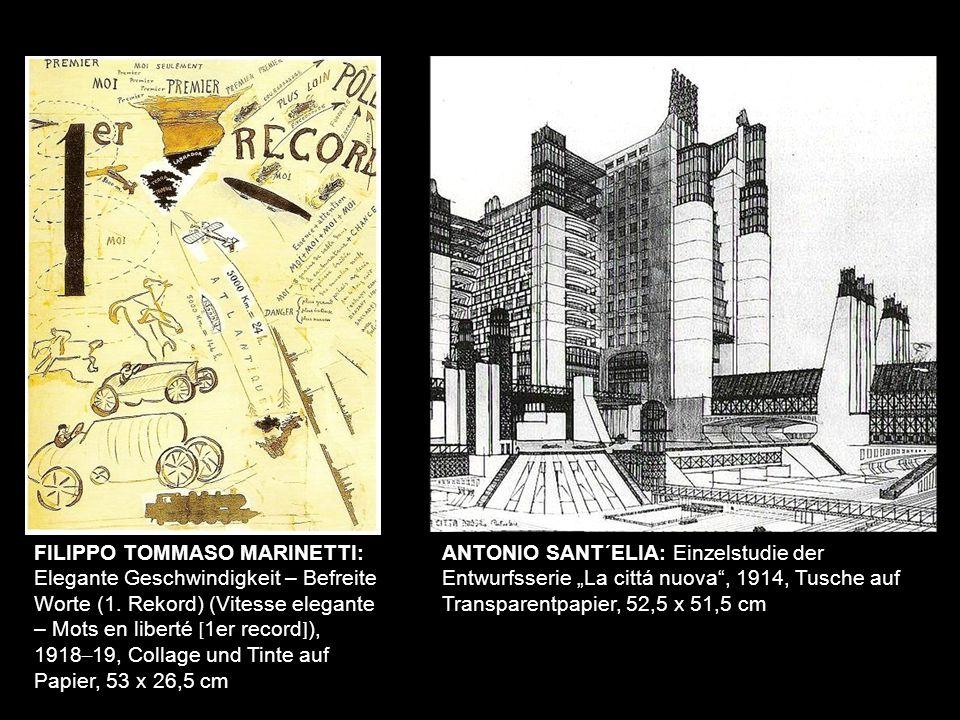 FILIPPO TOMMASO MARINETTI: Elegante Geschwindigkeit – Befreite Worte (1. Rekord) (Vitesse elegante – Mots en liberté [1er record]),